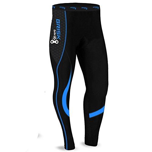 Brisk Bike Collants Cyclistes Thermiques cuissards Longs Leggings Bicyclette Collants de vélo rembourrés pour Cycliste Professionnel Pantalons vêtements vélo de Montagne (Black/Blue, S)