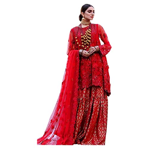 Dupatta - Traje de navaja para mujer, diseño de mariposa, bordado pesado,...