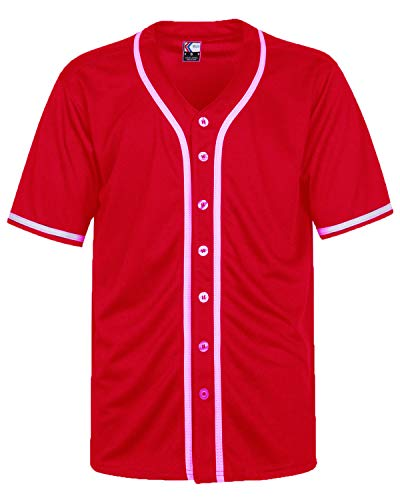 MOLPE Men's Blank Plain Hip Hop Hipster Button Down Baseball Jersey (S, Red/White-2)