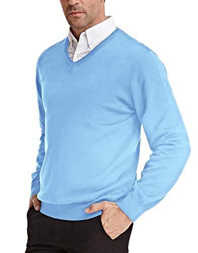 PJ PAUL JONES Men's V-Neck Pullover Sweater Basic Long Sleeve Knitting Sweater(Blue, L)