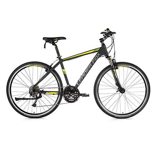 28 Zoll Leader Fox Daft Gent Crosser MTB Cross Bike Shimano 24 Gang grau gelb RH 44cm