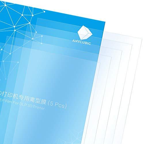 ANYCUBIC 5 fogli di ricambio FEP, pellicola in teflon, 200 x 140 x 0,15 mm, per stampante 3D Photon/Photon S/Photon Mono SE UV LCD SLA Resin