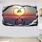 Yxsnow 3D Pegatinas de pared Corazón Tropical Love Island 3D Adhesivo Decorativo para Pared Pegatinas Decorativas Pared Para Niños Decoración de la Pared Stickers