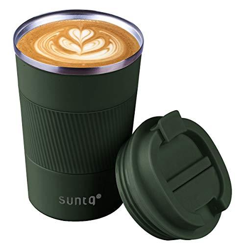 SUNTQ Wiederverwendbare Kaffeebecher Reise Kaffee Reisebecher mit auslaufsicherem Deckel - Edelstahl Reisebecher mit Gummigriff - für heiße und kalte Getränke, 14oz/380ml, grün