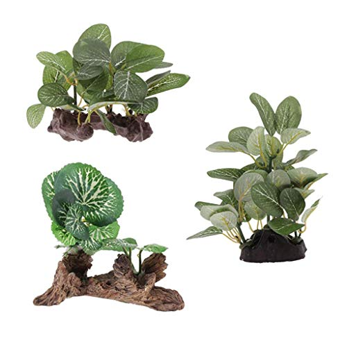 GzxLaY 3 Plantas Artificiales de Resina de Reptil, terrario, césped, decoración de hábitat Flexible para Mascotas para Gecko con Cresta, Lagarto, araña, escorpión, Serpiente, Otros Animales p