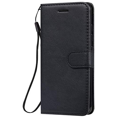 Hülle für LG K20 2019 Hülle Handyhülle [Standfunktion] [Kartenfach] Tasche Flip Hülle Cover Etui Schutzhülle lederhülle flip case für LG K20 - DEKT051068 Schwarz