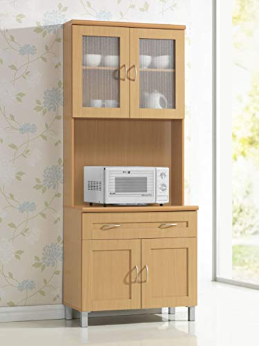 Hodedah Tall Standing Kitchen Cabinet with Top and Bottom Enclosed Cabinet Space, 1-Drawer, Large Open Space for Microwave in Beech