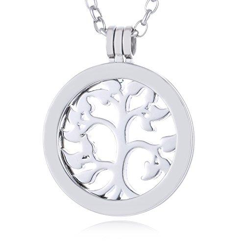 Morella Damen Halskette 70 cm Edelstahl mit Amulett und Coin 33 mm Lebensbaum Silber in Schmuckbeutel