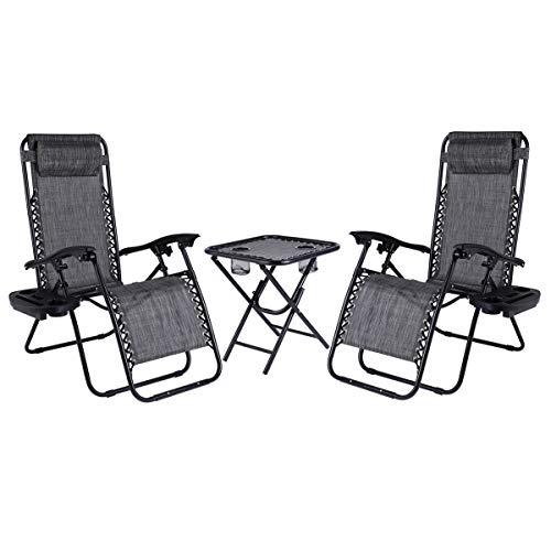 LAJOSON Juego de 2 sillas reclinables ajustables de malla de acero con gravedad cero con almohadas y bandejas portavasos, lado de la piscina, patio al aire libre, playa