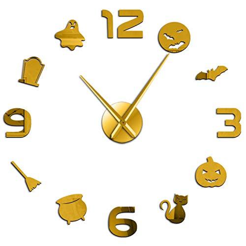 yage Halloween DIY Decoración para el hogar Arte de la Pared Reloj de Pared Grande Truco o Trato Horror Reloj de Pared sin Marco con Gran Reloj Manos Número de Espejo