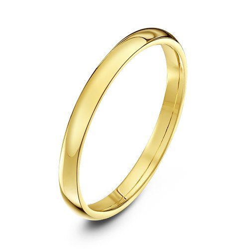 Theia Unisex Heavy Court Shape Polished 9 ct Yellow Gold 2 mm Wedding Ring - Size W