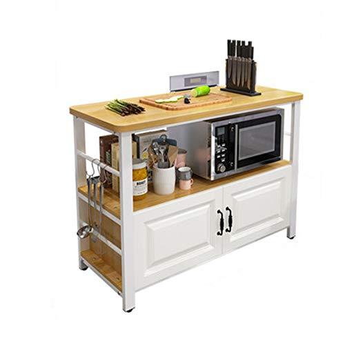 Rack de isla de cocina Piso de cocina con gabinetes Multi capa Microondas Horno de microondas Fruta y almacenamiento de vegetales Tabla de estante de corte ( Color : Natural , Size : 80x50x80cm )