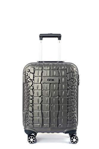 CCS CROCODILE 8 ruedas Maleta Trolley llevar a mano Hard Shell bolsa de viaje ligero equipaje, color Gris, talla Medium