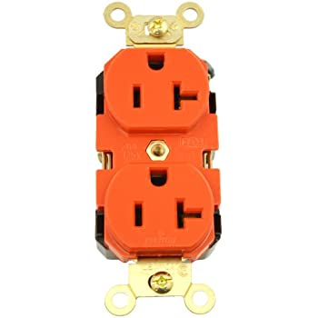 Straight Blade Leviton 8300 20-Amp Brown 125-Volt Extra Heavy Duty Hospital Grade Duplex Receptacle Back and Side Wired Self Grounding