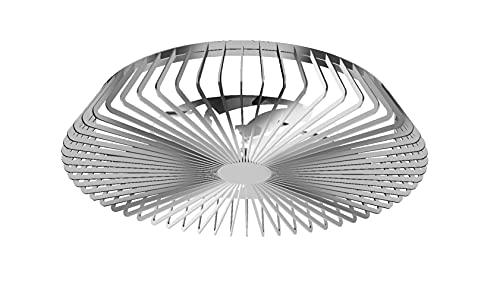 Mantra Iluminación. Modelo HIMALAYA. Ventilador y plafón de techo de 63 cm de diámetro en color plata. Fuente de luz LED 70W 2700K-5000K 4900lm. Ventilador 35W