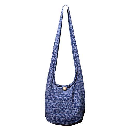 PANASIAM Schultertaschen Asanoha Design in blau, L