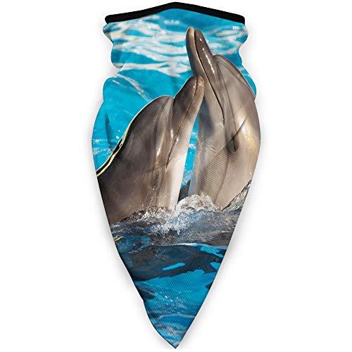 MLNHY cómoda cubierta de cara a prueba de viento, Aqua Show par de delfines de San Valentín bailando en la piscina ternura animal Love.jpg, decoraciones faciales impresas para todos