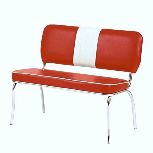 HOWE-Deko Bistro-Sitzbank mit Lehne Louisiana, 2-er Set, rot/weiß, Retro / 50er-Jahre, Gestell Stahlrohr verchromt, Bezug 100% Polyester in Lederoptik, Sitzmaße: H48 x T45 x B100 cm