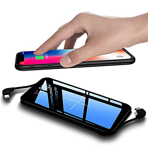 Cargador Portatil, 10000mAh Power Bank Portátil Inalámbrico con 4 Outputs & 2 Cables Incorporados Baterias Externas Power Banks con USB C Carga Rápida Cargadores Móvil para iPhone, Samsung, Huawei