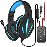 Voice Changer Gaming Headset with Mic for , with Volume Control LED Light Cool Style Stereo,Noise Reduction for Cell Phone/Xbox One/Xbox One S/Xbox One X/PC/PS4/PS5/Switch/IPad/Computer & Laptops