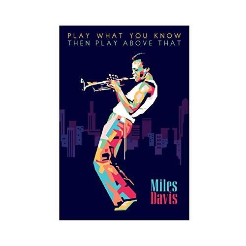 Miles Davis Popart Performance Art Poster di tela per camera da letto, sport, paesaggio, ufficio, decorazione per camera da letto, 30 x 45 cm, stile Unframe-1