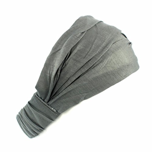 Lunji Turban Bandeau Cheveux Femme Cotton Headband Elastique pour Maquillage/Lave ton visage/Sport/Yoga (Gris)