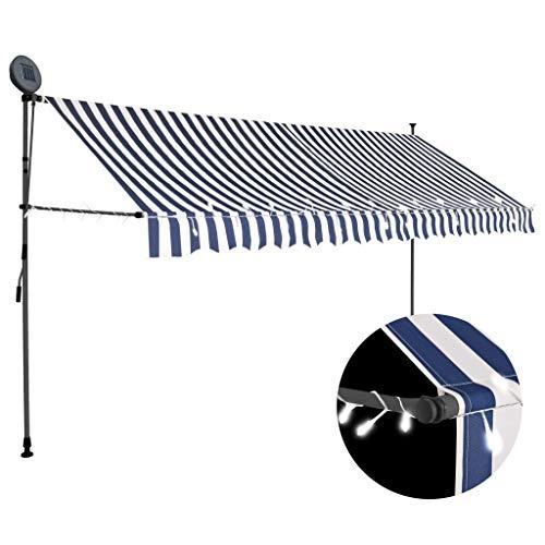 vidaXL Markise Einziehbar Handbetrieben mit LED Wasserabweisend Klemmmarkise Balkonmarkise Sonnenschutz Terrasse Balkon Garten 350cm Blau Weiß