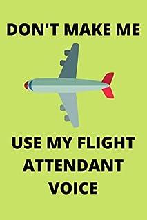 DON'T MAKE ME USE MY FLIGHT ATTENDANT VOICE: Funny Flight Attendant Air Hostess Stewardess Journal Note Book Diary Log Scr...