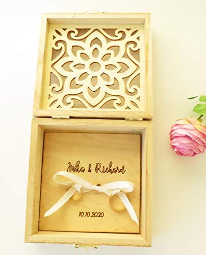 Ringkissen Hochzeit Vintage graviert - Schönes Holz Ringkissen - Ringbox Hochzeit Holz - Ringschachtel aus Holz - Ringkissen Standesamt - Trauring Kissen Vintage
