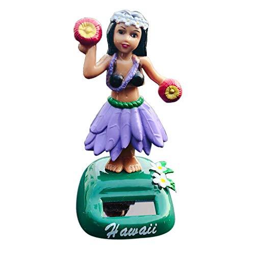 joyMerit LULU Party Girl Solar Power Head Bobbing CAR Dashboard Toy Home CAR Office - B-Purple