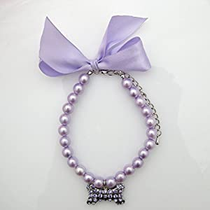 PETFAVORITES Fancy Pearls Crystal Dog Necklace Jewelry with Bling Rhinestones Big Bone Charm for Pets Cats Small Dogs Girl Teacup Chihuahua Yorkie Clothes Costume Outfits (Purple, 12 to 14-Inch)