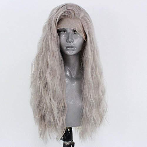 Ltong watergolf hoge temperatuur vezel haar synthetische lace front pruiken voor vrouwen lange lichtgrijs golvende 13x3 lace cosplay pruik, 26 inches