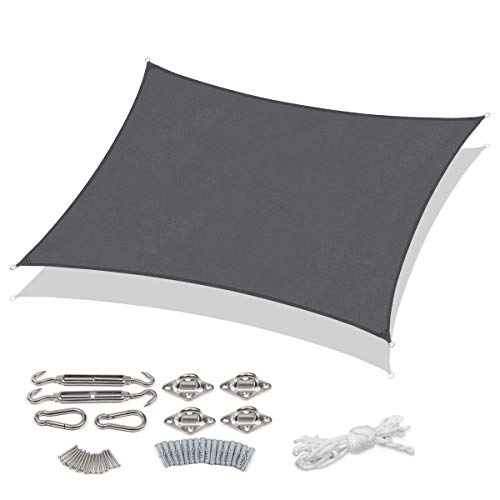 Sekey Sonnensegel Sonnenschutz Rechteckiges Polyester Windschutz Wetterschutz Wasserabweisend Imprägniert 95% UV Schutz, für Outdoor Garten mit Seilen und Befestigungs Kit, Anthrazit 2×3m mit kit