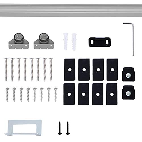 Kit complet porte coulissante 4 x 93 cm (p x l): rail, roulettes, visserie