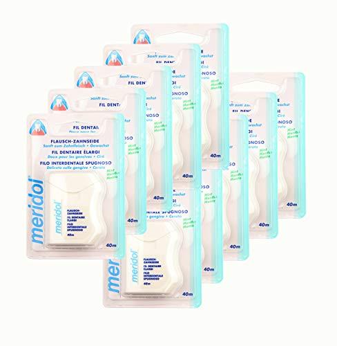 10x Meridol Flausch-Zahnseide 40m, Höchste Qualität, Sanft zum Zahnfleisch