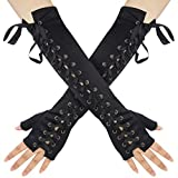 Womens Fingerless Gloves Satin 1920s Elbow Lace Up Punk Costume Arm Warmer for Women Ladies Girls Halloween Christmas BirthdayRetro Evening Opera Party Cosplay Dress Up