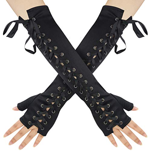 Womens Fingerless Gloves Satin 1920s Elbow Punk Costume Arm Warmer for Women Ladies Girls Halloween Christmas Birthday Retro Evening Opera Party Cosplay Dress Up