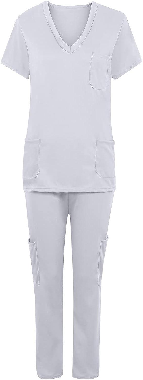 Active Classic Scrub_Top & Pants Set for Women V-Neck Top Solid 5-Pocket Super Soft Stretch Women Workwear Set