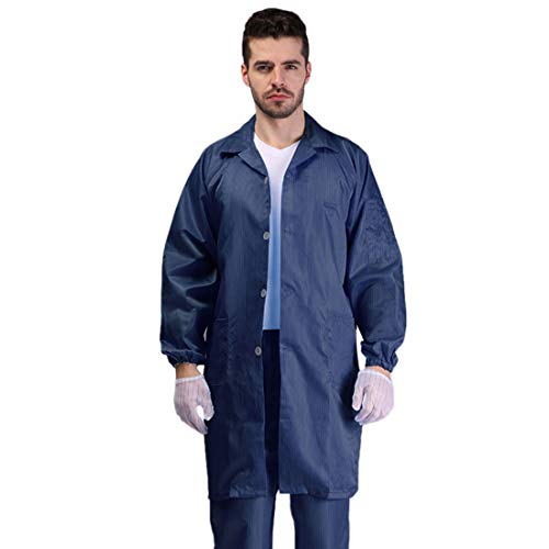 Freahap Antistatic Gown Dustfree Gown Isolation Gown with Pockets Buttoned Jacket Washable Lab Gowns Protective Clothing for Lab Workshop Navy L