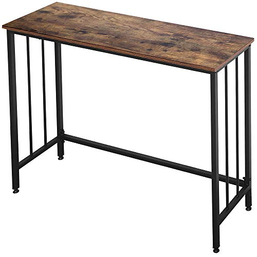 """Industrial Console Table, Sofa Table for Living Room,Hallway,Entryway, Entrance Hall, Corridor - Wood Look Metal Frame 38.6"""" L x 11.8"""" W x 30.7H - Rustic Brown"""