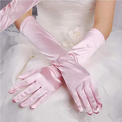 GBSTA Vingerloze Handschoenen Satijn Lange Vinger Elleboog Zon bescherming handschoenen Opera Avond Party Prom Kostuum vrouwen roze
