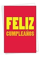 NobleWorks Big Feliz Cumpleanos - バースデー スペイン語グリーティングカード 封筒付き (4.63 x 6.75インチ) - 大きなスペイン語メッセージ C3243BDG-SL
