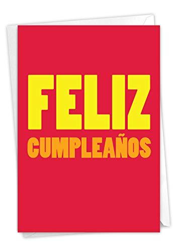 NobleWorks, Big Feliz Cumpleanos - Spanish Happy Birthday Greeting Card - Bold Notecard for Birthdays C3243BDG-SL