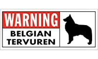 WARNING(Red) BELGIAN TERVUREN ワイドマグネットサイン:ベルジアンタービュレン Sサイズ