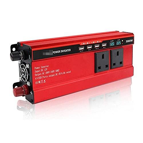 WBJLG Inversor Solar DC12V a AC 220V 3000W 4000W Inversor de energía Inversor de Corriente Transformador de Voltaje Convertidor Cargador Pantalla LCD