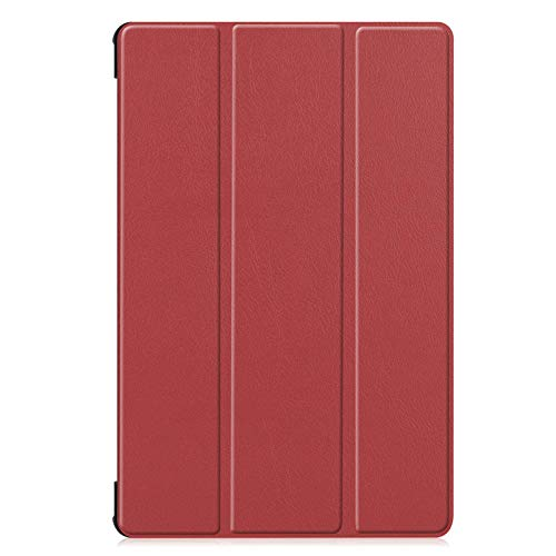 Trifold bracket flat cover, suitable for Samsung Tab S6 Lite P610/P615 flip cover sleep-Red wine