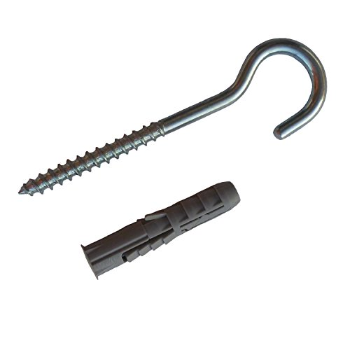 Complete Hardware Kit 10 Open Screw Eyes 3 1/2' 100mm with Concrete Drilling Anchors for Hanging Rings Hooks Threaded