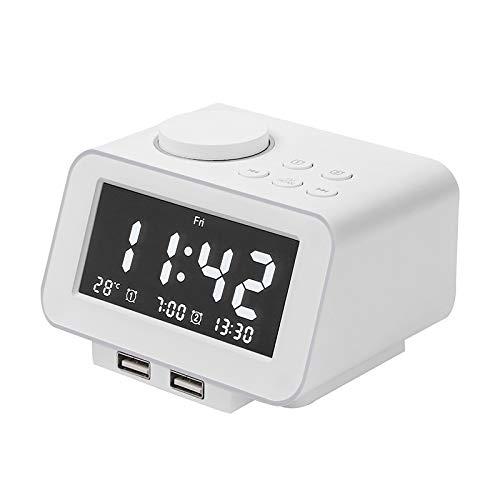 Creative USB opladen intelligente digitale temperatuur wekker nachtkastje wekkerradio elektronische kleine wekker multifunctioneel nut alarm clock (Color : White, Size : EU)