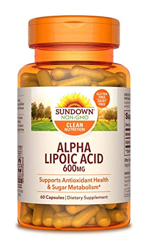 Sundown Super Alpha Lipoic Acid 600 mg, 60 Capsules (Packaging May Vary) Non-GMOˆ, Free of Gluten, Dairy, Artificial Flavors