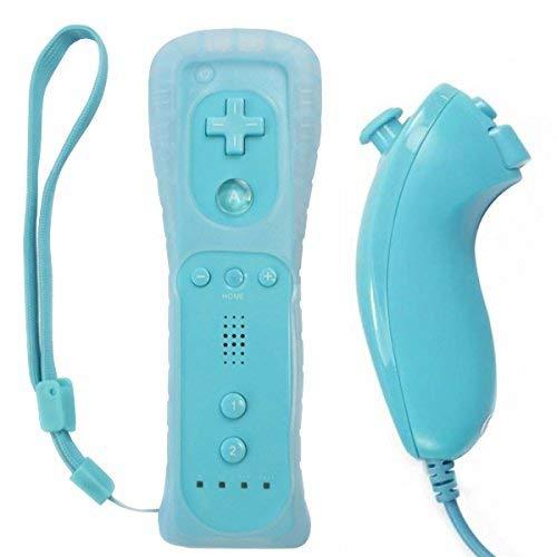 OSTENT El sensor de movimiento del mando a distancia con cable Nunchuck + Combo compatible para la consola Nintendo Wii Color Azul